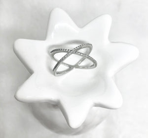 OVERLAPPING X RING - SILVER