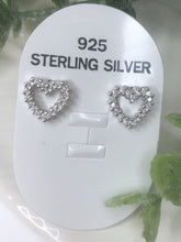 Load image into Gallery viewer, HEART STUD EARRINGS - SILVER