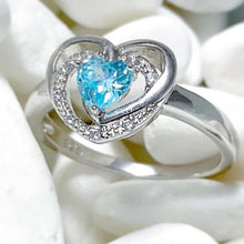 Load image into Gallery viewer, PRECIOUS BLUE HEART RING - SILVER