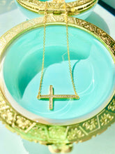Load image into Gallery viewer, SIDEWAYS CROSS NECKLACE - GOLD PLATED