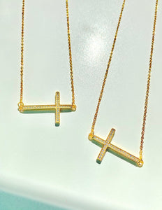SIDEWAYS CROSS NECKLACE - GOLD PLATED