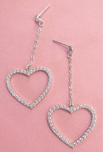 HEARTLY DANGLE EARRINGS - SILVER