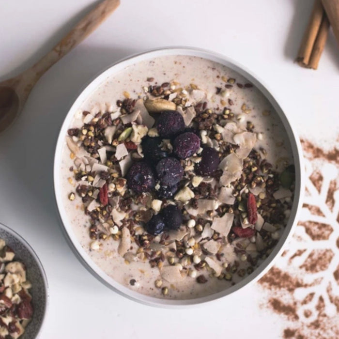 Hazelnut Cinnamon Smoothie with Berry + Cacao Granola, by Rachel Mason @floraandflow_