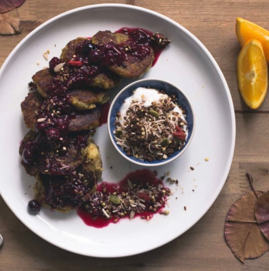 Soft Banana Fritters with Berries + Crumble, by Rachel Mason @floraandflow_