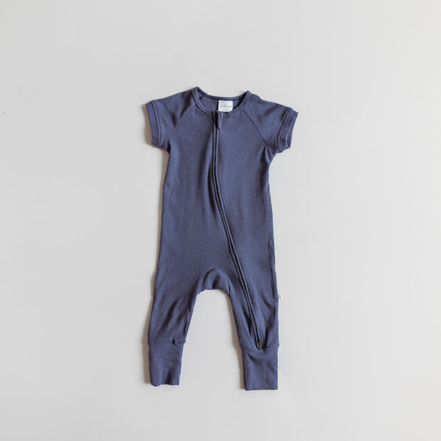 Short Sleeve Romper in Oceana Blue