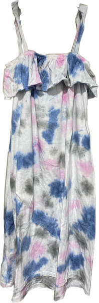 T 2 Love - Ruffle Tie Dye Sundress - Denim/Gray/Pink