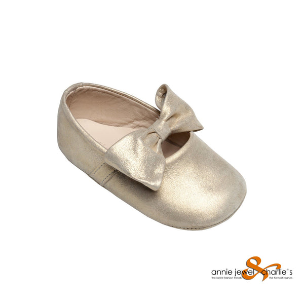 Elephantito - Baby Ballerina With Bow Leather Gold