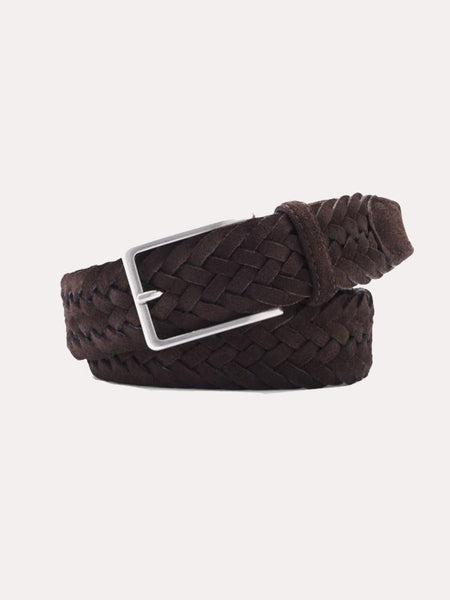 Peter Millar - Men's Brown Leather & Wool Braided Belt