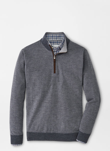 Peter Millar - M's Needle Stripe Quarter Zip Sweater CHA Charcoal
