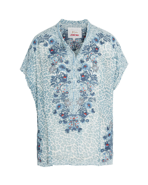 Johnny Was - Bluewell Chiffon Blouse Multi Blue
