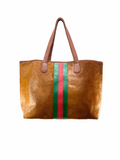 Parker and Hyde - Tan Hyde Stripe Tote