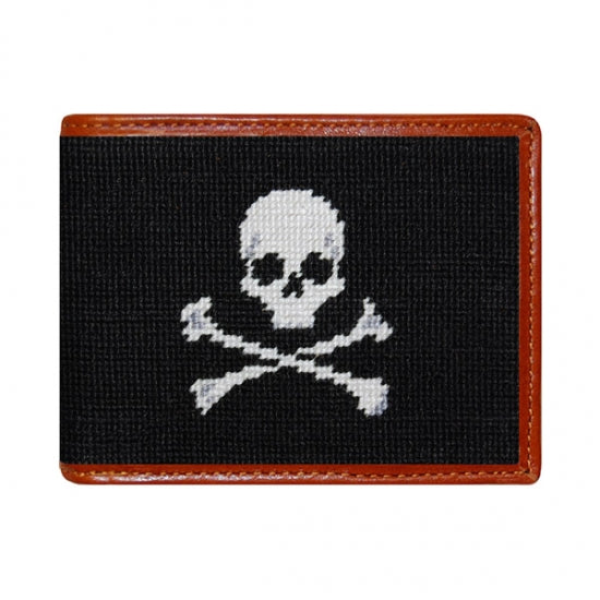Smathers & Branson - Jolly Roger Needlepoint Wallet (Black)