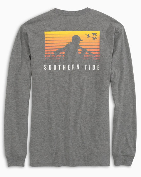 Southern Tide - M's L/S Early Hunt Tee Heather Gunmetal