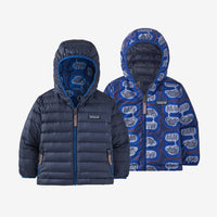 Patagonia - Baby Reversible Down Sweater Hoody in The Fantastics: Superior Blue