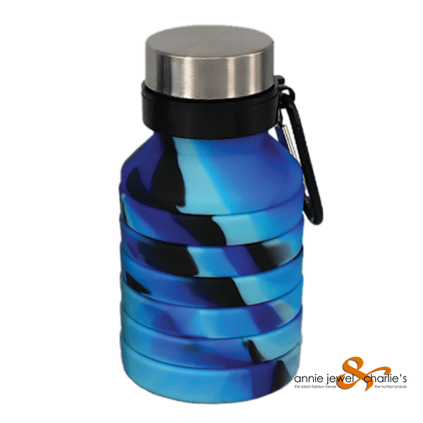 Iscream - Collapsible Water Bottle Blue and Black