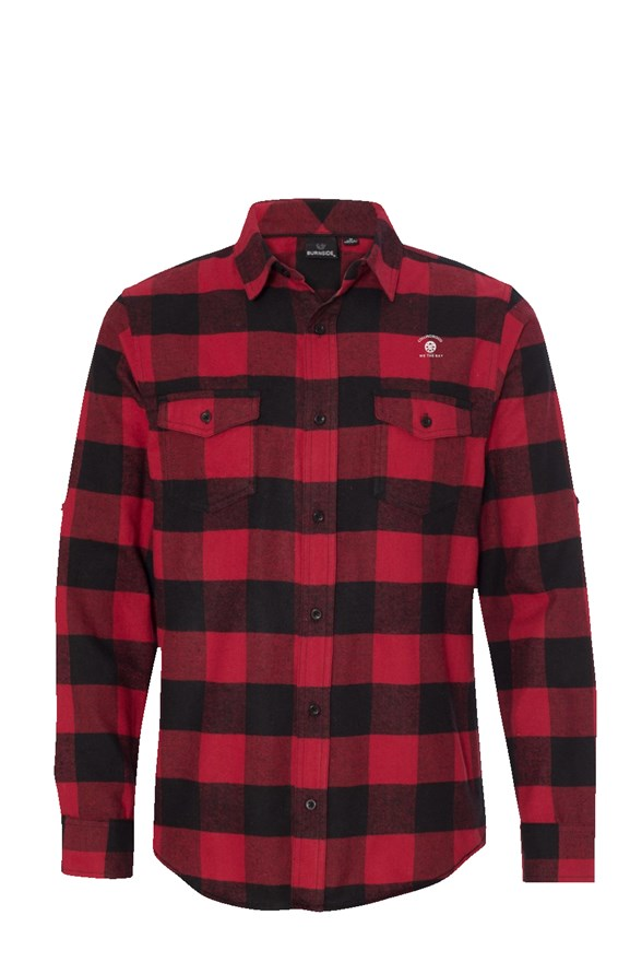 Mens Long Sleeve Collingwood Flannel Red And Black