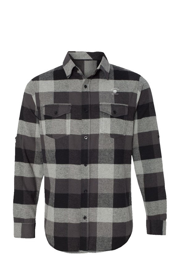 Mens Long Sleeve Blue Mountain Flannel Grey And Black