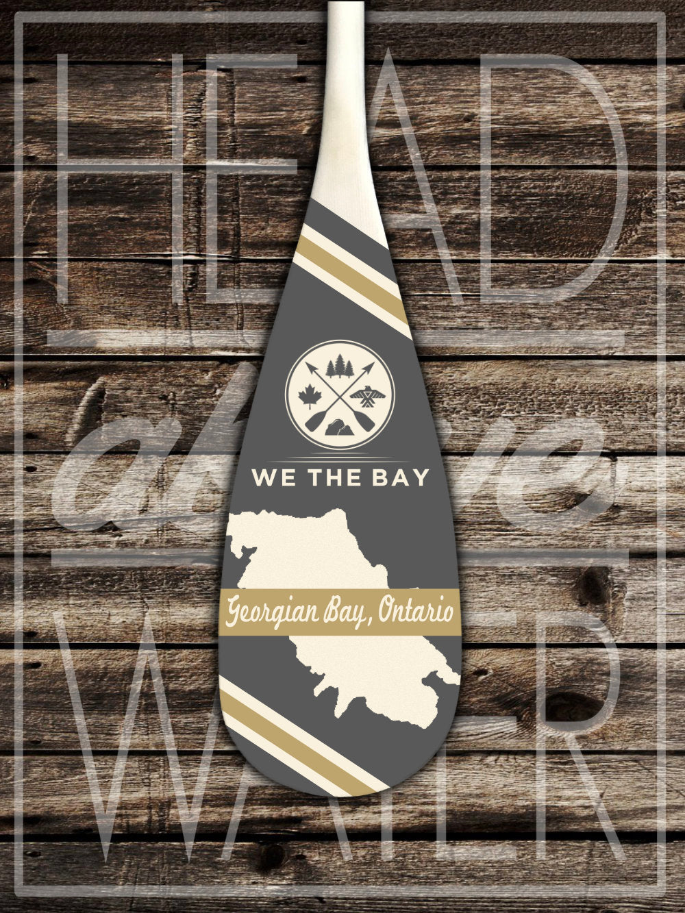 """Georgian Bay Map"" Decorative Canoe Paddle - GREY & GOLD"