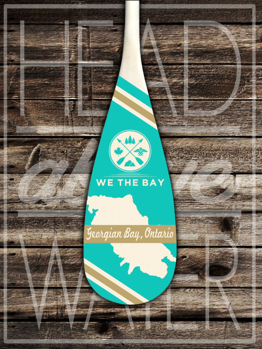 """Georgian Bay Map"" Decorative Canoe Paddle - TURQUOISE & GOLD"