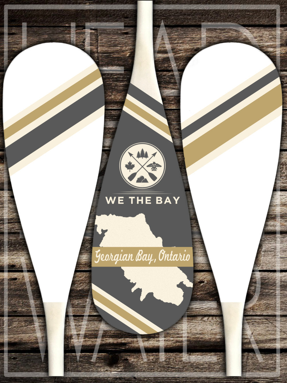 """Map of Georgian Bay"" Decorative Set of 3 Canoe Paddles - GREY & GOLD"