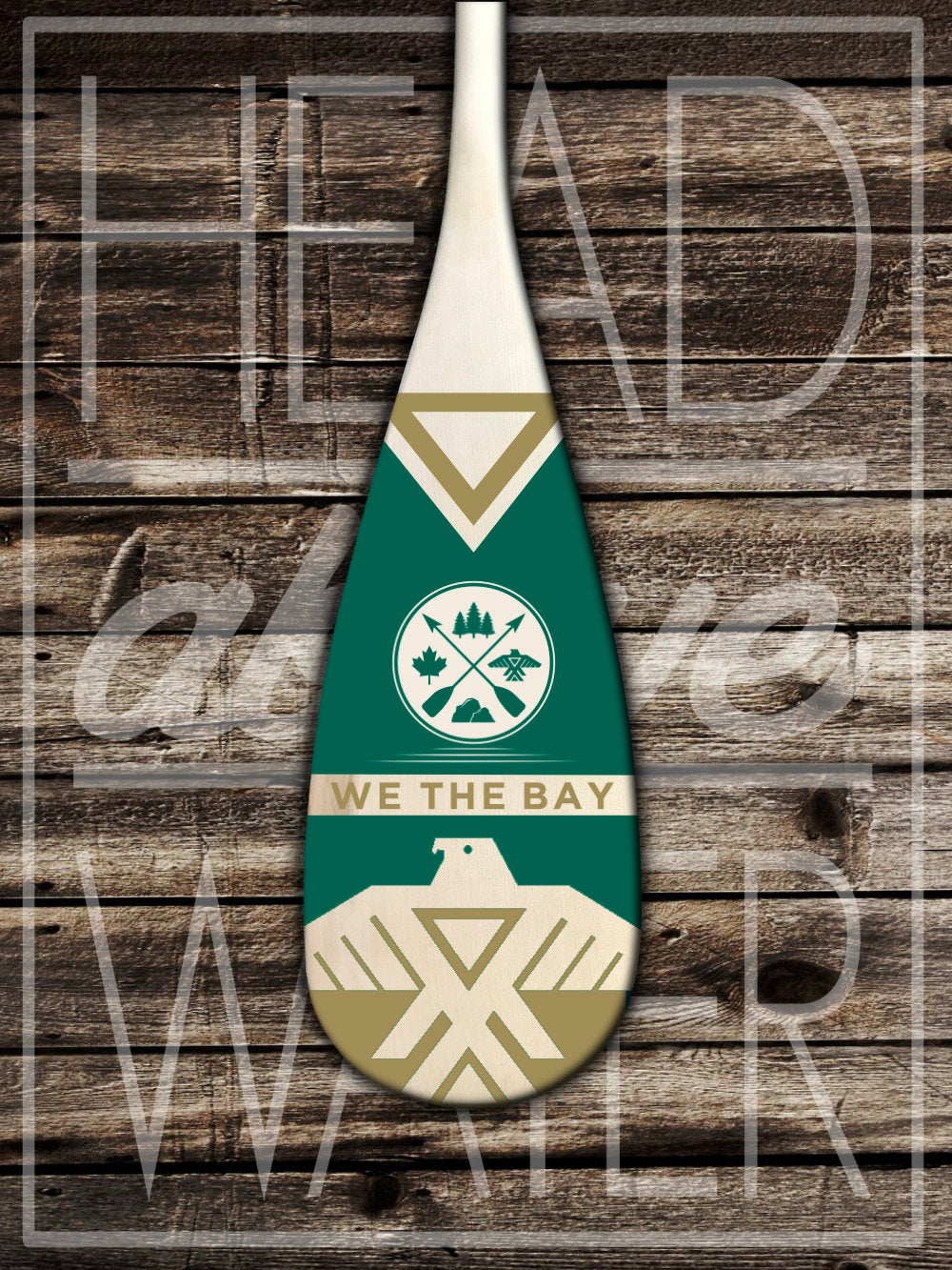 """Thunderbird"" Decorative Canoe Paddle - EMERALD & GOLD"