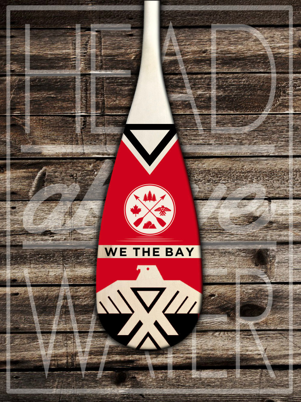 """Thunderbird"" Decorative Canoe Paddle - RED & BLACK"