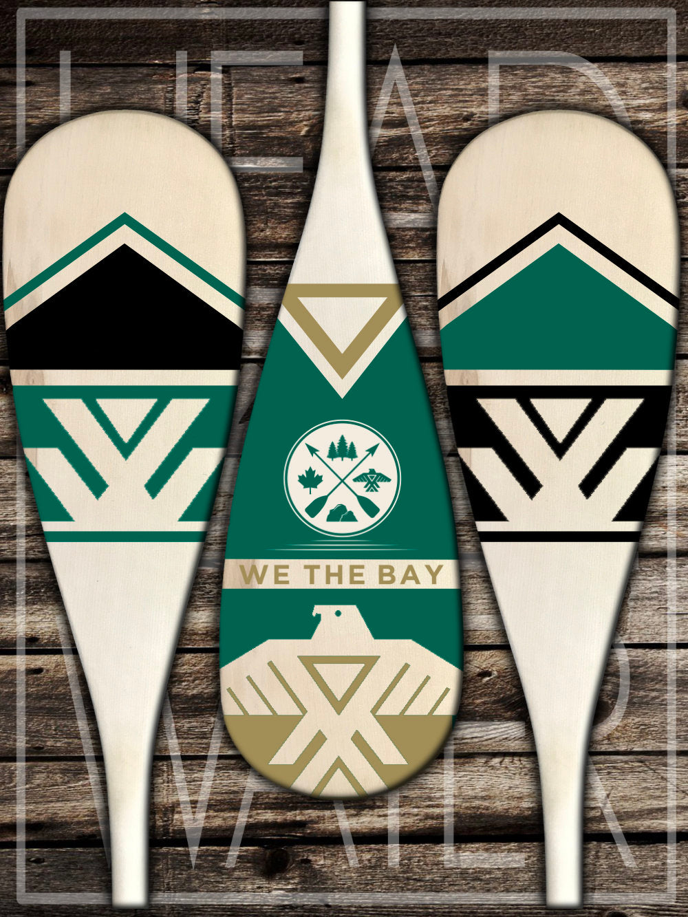"""Thunderbird"" Decorative Set of 3 Canoe Paddles - EMERALD & GOLD"