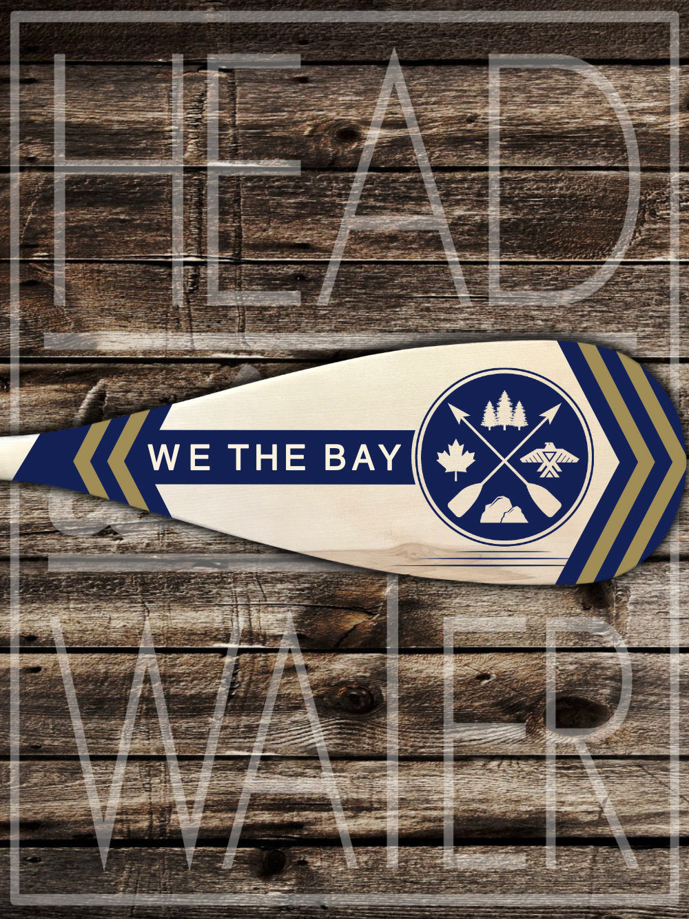 """We The Bay"" Decorative Canoe Paddle - NAVY & GOLD"