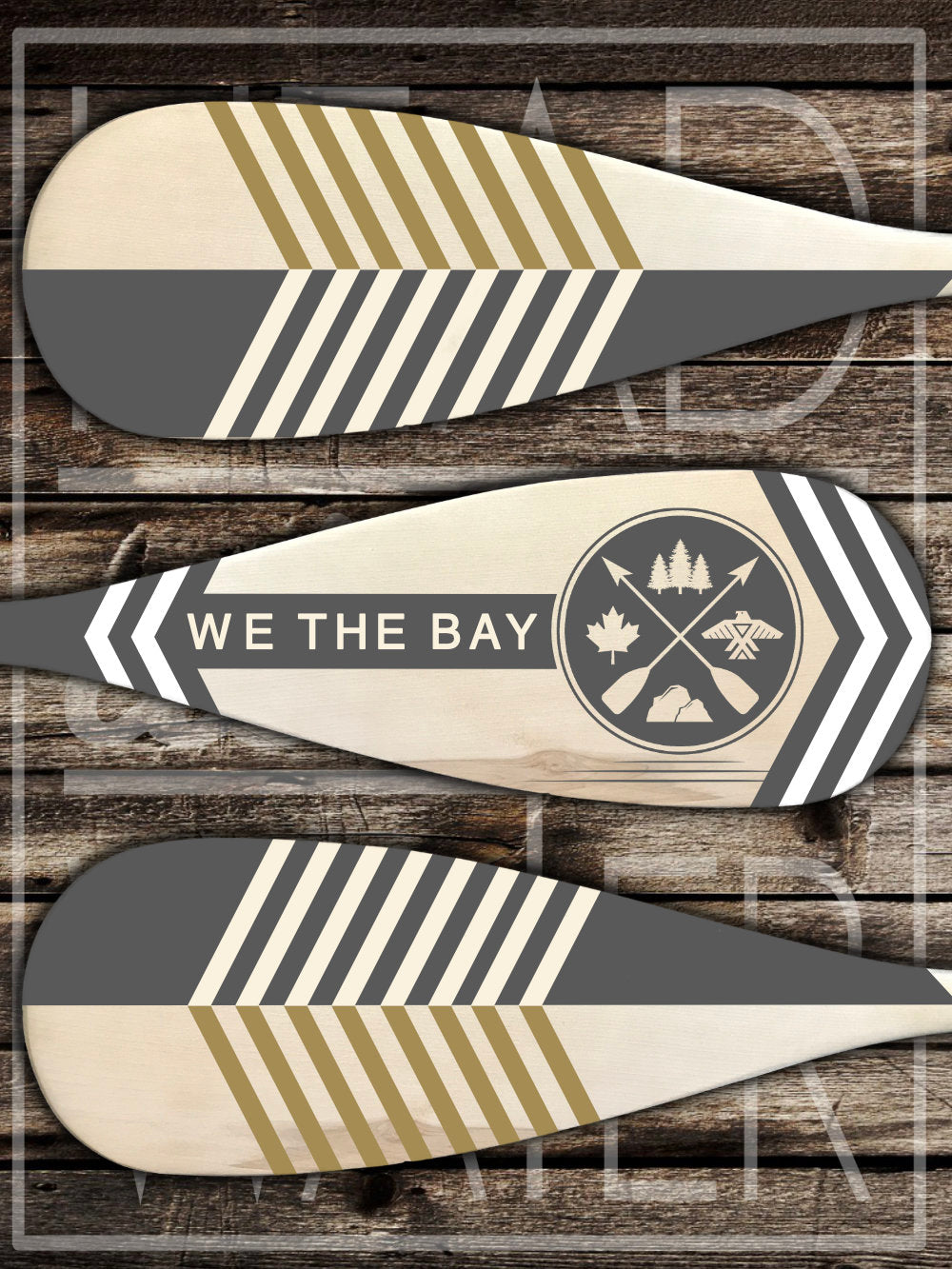 """We The Bay"" Decorative Set of 3 Canoe Paddles - GREY & WHITE"