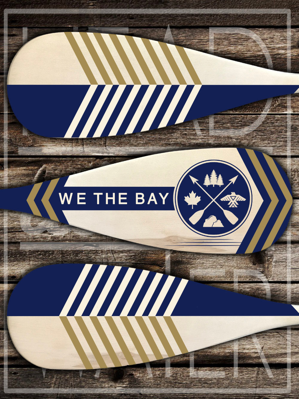 """We The Bay"" Decorative Set of 3 Canoe Paddles - NAVY & GOLD"