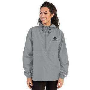 Embroidered Champion Packable Jacket- Grey