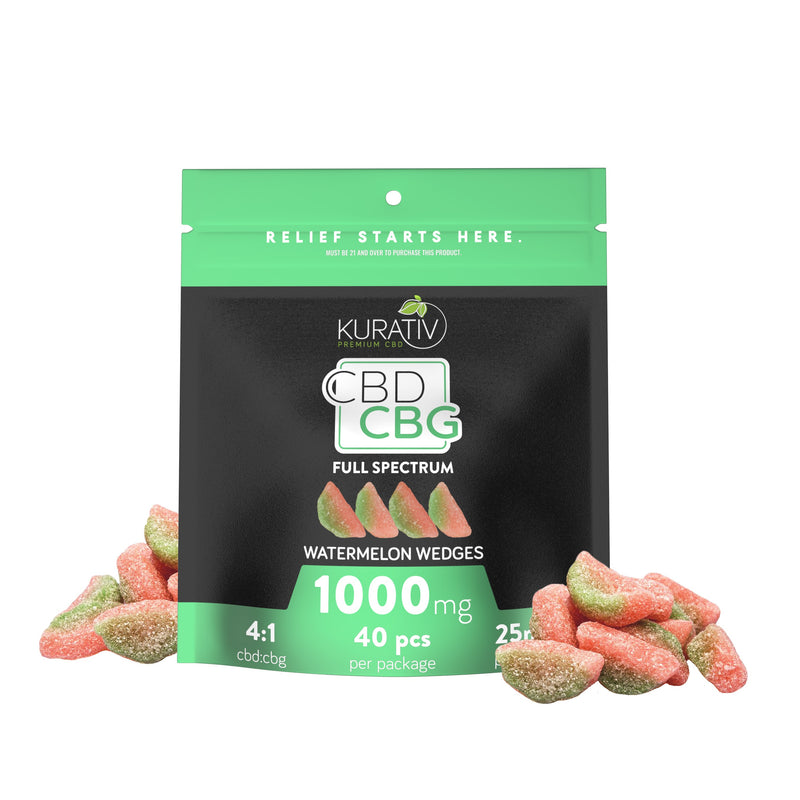 Full Spectrum CBG Watermelon Wedges 1000mg Kurativ Premium CBD