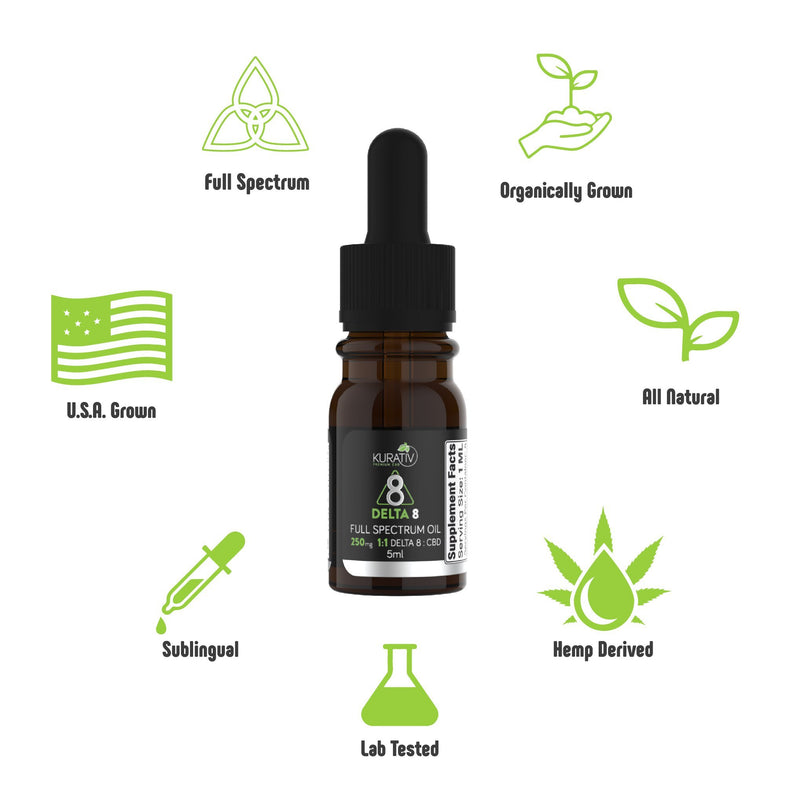 Full Spectrum Delta 8 / CBD Oil 250mg Kurativ Premium CBD