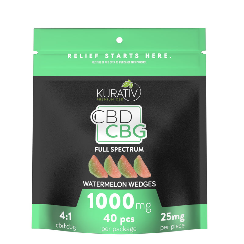 Full Spectrum Watermelon Wedges CBG Gummies 1000mg Kurativ Premium CBD