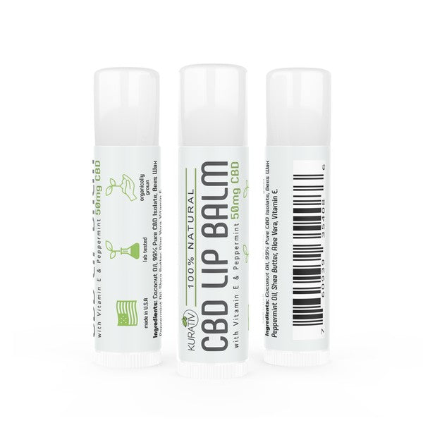Kurativ CBD Isolate Lip Balm (3-pack) - 50mg, Vitamin E & Peppermint Kurativ Premium CBD