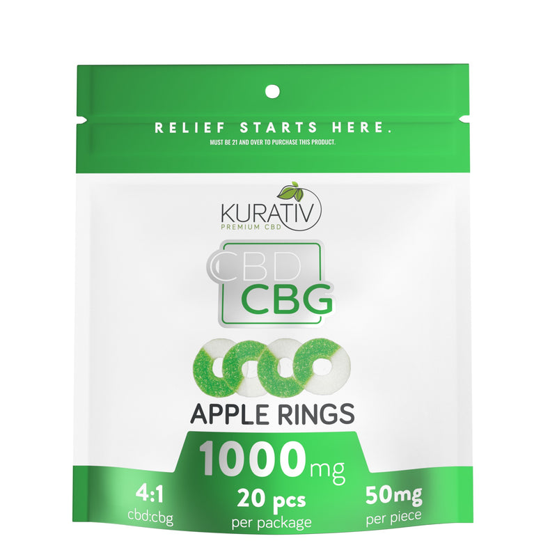 THC-Free Apple Rings CBG Gummies 1000mg Kurativ Premium CBD