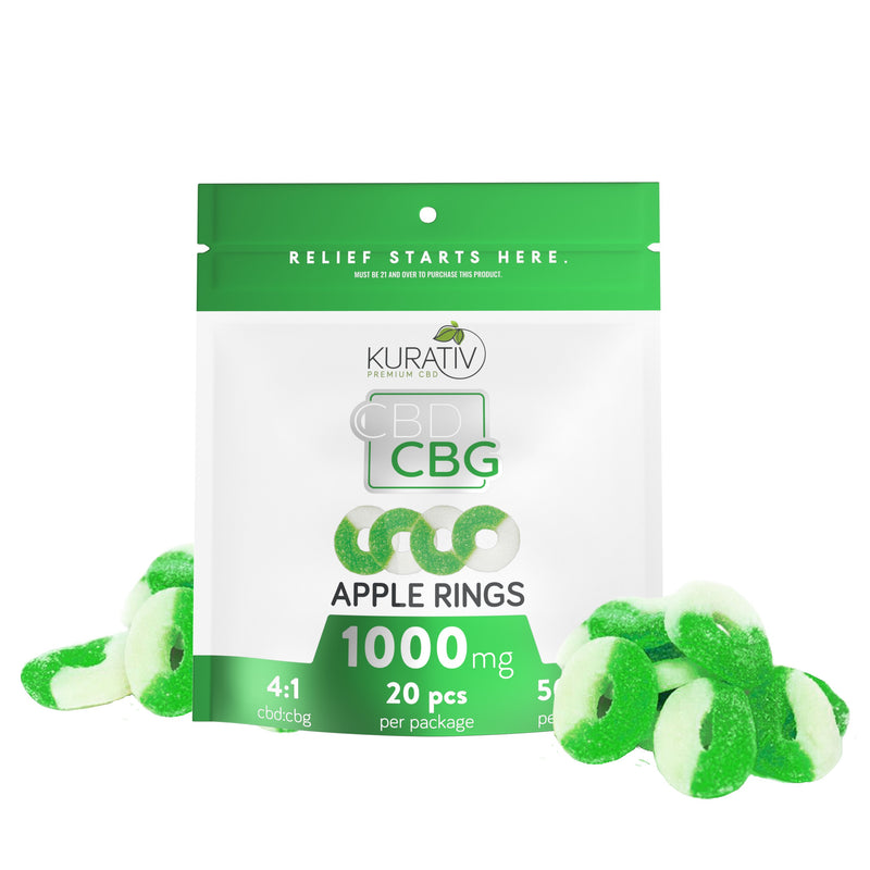 THC-Free CBG Apple Rings 1000mg Kurativ Premium CBD