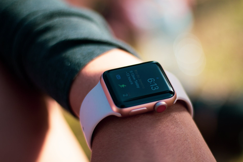 apple watch on a person's wrist