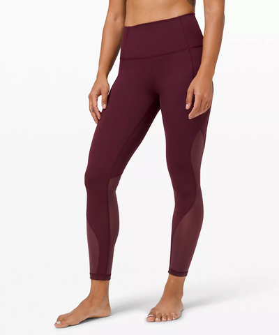 High-Rise Chiffon Mesh wine colored leggings from Wunder Under