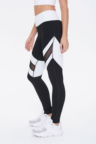 Active Colorblock Mesh-Panel black and white leggings from Forever21