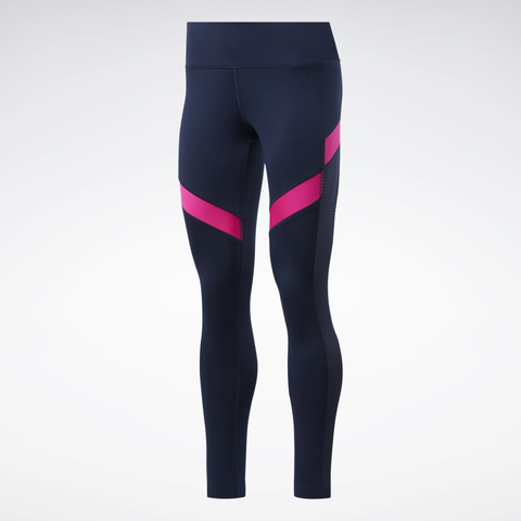 Workout Ready Mesh navy blue and fuschia leggings from Reebok