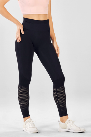 High-Waisted Seamless Mesh black leggings by Fabletics