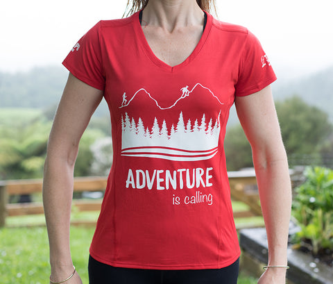 ADVENTURE IS CALLING - Womens Drifit Tshirt RED - SALE! Was $45 now only $20