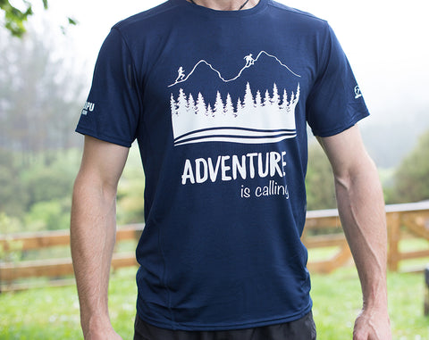 ADVENTURE IS CALLING - Mens Navy Drifit Tshirt - SALE! Was $45, now only $20