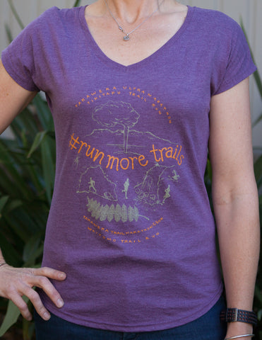 RUN MORE TRAILS Tshirt - Womens Purple SALE! Was $25 now only $15. Limited sizes