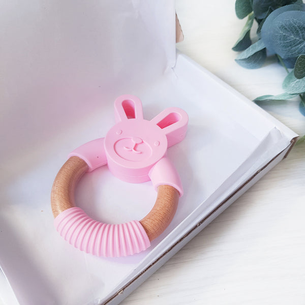 Silicone and Beech wood bunny teether - PINK