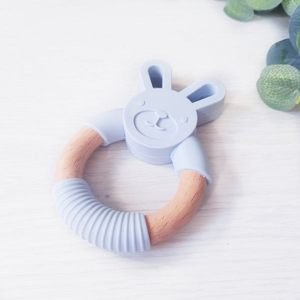 Silicone and Beech wood bunny teether - GREY