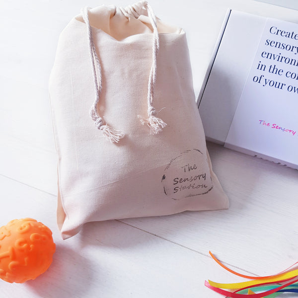 White cotton drawstring bag
