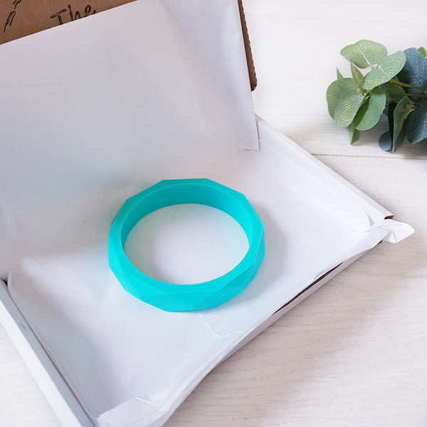 Geometric teething bangle - Teal.