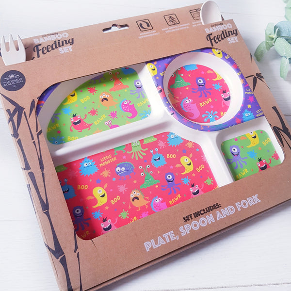 Little Monster bamboo plate set